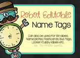 Robot Name Tags - EDITABLE (Labels, Flashcards, Name Plate