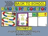 EDITABLE Back to School: Rules & Procedures PowerPoint Gam