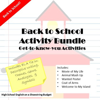 Back to School ELA Activities Bundle - WORD
