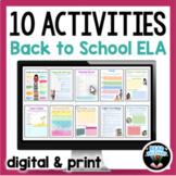 Back to School ELA Activities First Week of School for Goo