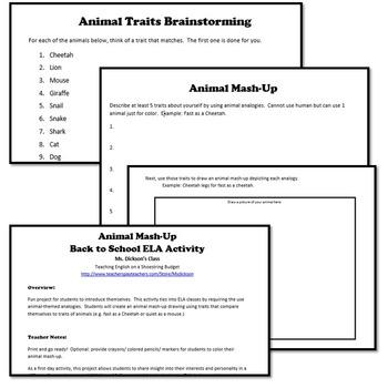 Back to School ELA Activity Animal Mash-Up
