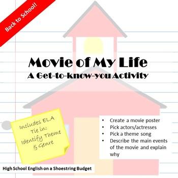 Back to School ELA Activity Movie of My Life