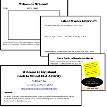 Back to School ELA Activity Welcome to My Island