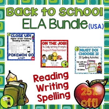 Back to School ELA BUNDLE Writing Reading Spelling Activities