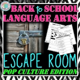 Back to School ELA Escape Room - Pop Culture Edition