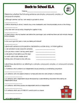 ELA Puzzles - Back to School (Grades 4-8)