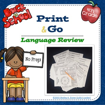 4th Grade Back to School Language Review Print and Go Pack