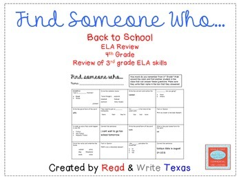 Back to School ELA Review Game