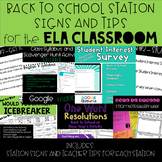 Back to School ELA Stations - Signs and Teacher Tips