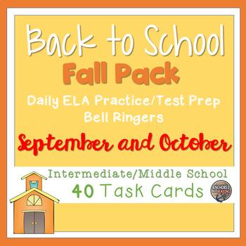Back to School ELA Task Card Bundle (TWO FULL MONTHS) Upper Elem/Middle School
