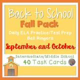 Back to School ELA Task Card Bundle (TWO FULL MONTHS) Uppe