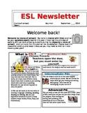 Back to School ESL Newsletter - Back to School Newsletter