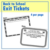 Back to School EXIT TICKETS
