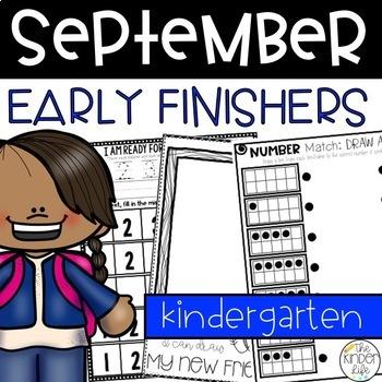 September Kindergarten Back to School Early Finisher Journal Numbers Alphabet