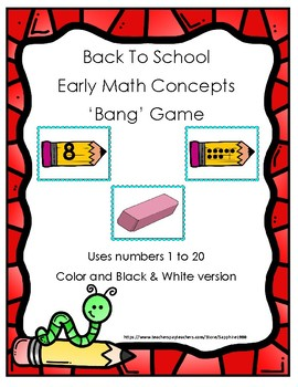 Back to School Early Math Concepts (numbers 1 to 20) Bang Game