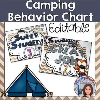 Back to School Editable Behavior Clip Chart Camping