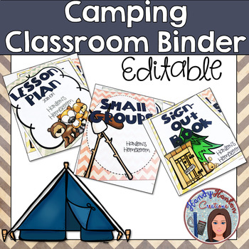 Back to School Editable Binders Camping Theme