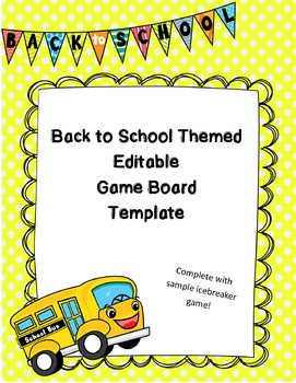 Back to School Editable Board Game Template