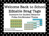 Back to School Editable Brag Tags Polka Dot Monster Theme