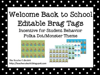 Back to School Editable Brag Tags Polka Dot Monster Theme