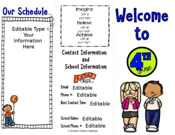 Back to School Editable Brochure 4th Grade