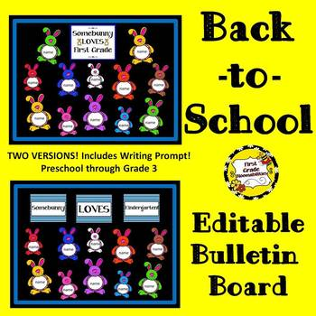 Back-to-School Editable Bulletin Board (Somebunny Loves... BLUE)