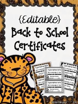 Back to School - Editable Certificates