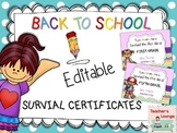 Back to School Editable Certificates