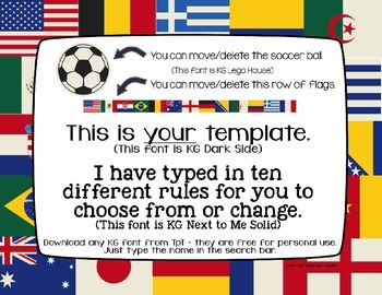 Editable Class Rules - Flags/World Cup Soccer Theme