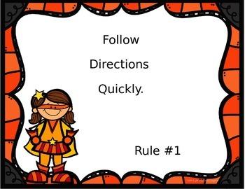 Editable Class Rules -Superhero Theme