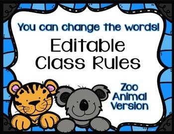 Editable Class Rules - Zoo Animal Theme
