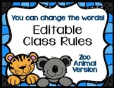 Editable Class Rules - Zoo Animal Theme