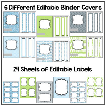 Back to School Editable Classroom Organization and Decor BUNDLE Blues and Greens