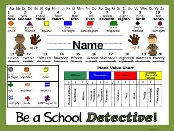 Back to School Editable Detective Nameplates K-2 Edition