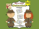 Back to School Editable Detective Nameplates K-2 Edition