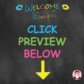 "Back to School ""Editable"" Banners - Doughnut Sprinkle Theme"
