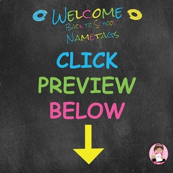 "Back to School ""Editable"" Doughnut Sprinkles Themed Name Tags"