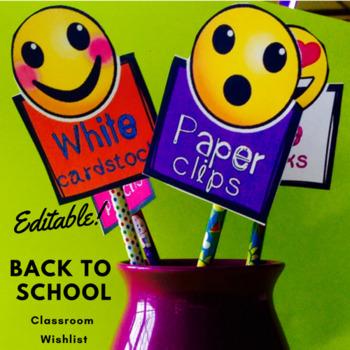 Back to School Editable Emoji Wishlist-Free