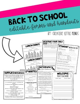 Back to School Editable Forms and Handouts