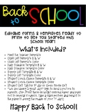 Back to School Editable Forms and Templates