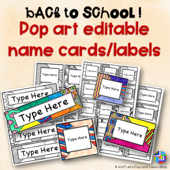 Back to School! Editable Name Cards/Labels!