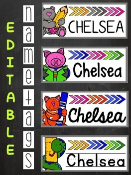 Back to School Editable Name Tags