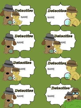Back to School Editable Name Tags (Detective Theme)