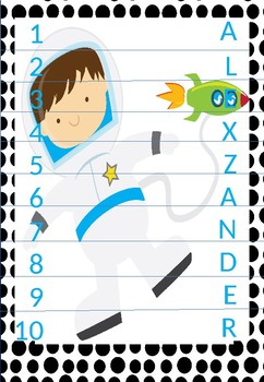 Back to School- (Editable)Name practice picture puzzles space themed