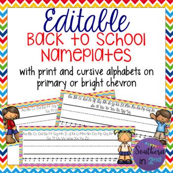 Back to School Editable Nameplates