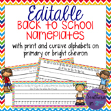 Back to School Editable Nameplates