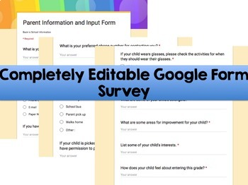 Back to School Editable Parent Information and Input Survey