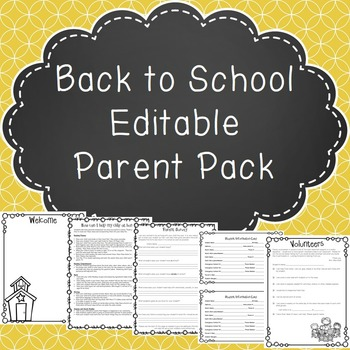 Back to School Editable Parent Pack
