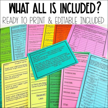 Back to School Editable Parent Survey for Special Education