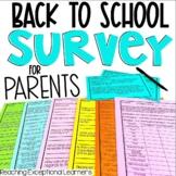 Back to School Editable Parent Survey